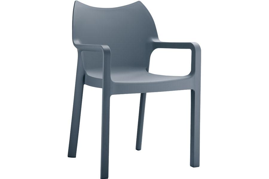 Stapelbare stoel Vida donkergrijs