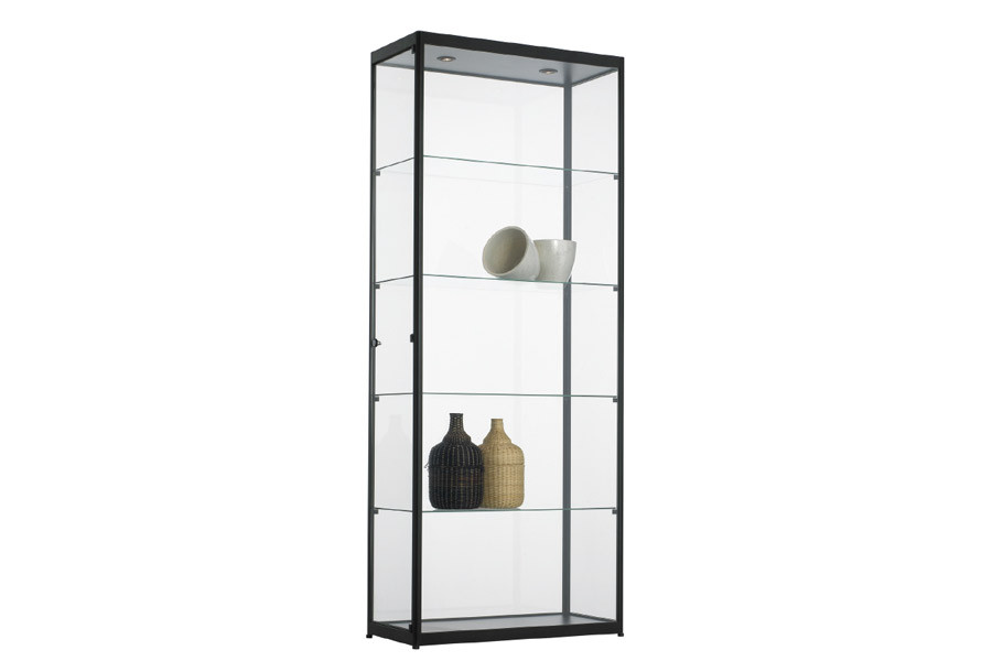 vitrinekast 80 x 40 x 200 cm in zwart of aluminium geanodiseerd. Black Bedroom Furniture Sets. Home Design Ideas